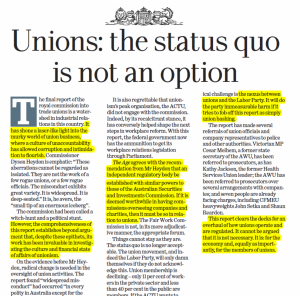 The Age - Unions: status quo is not an option