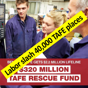 Labor slash 40,000 TAFE places