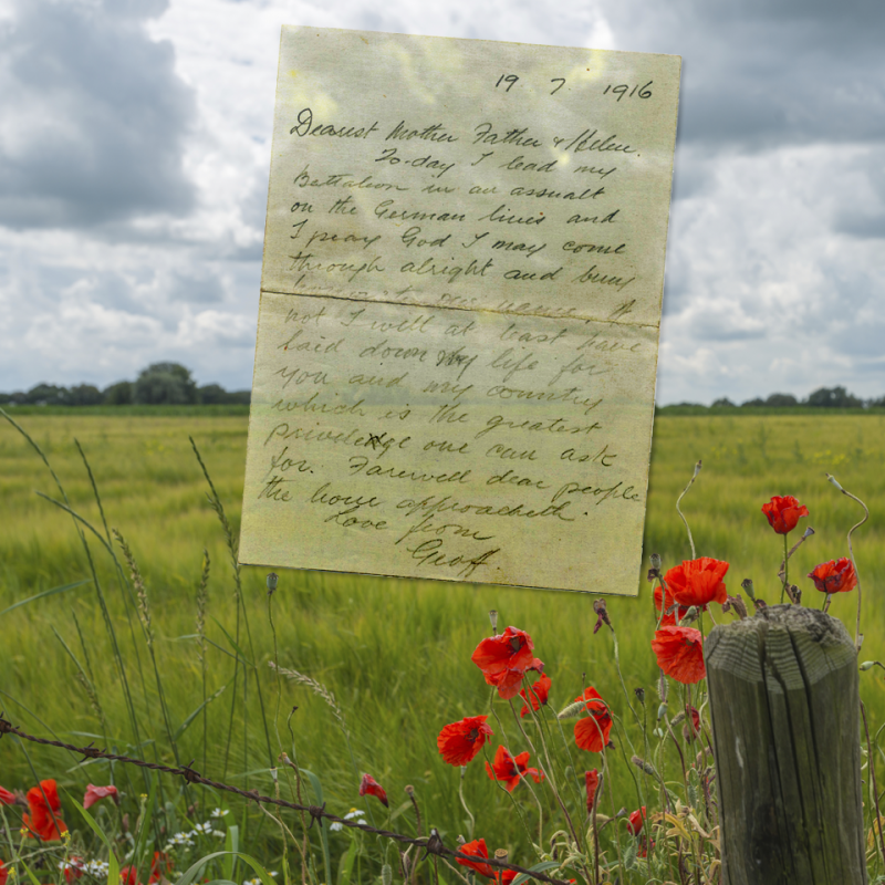 Last letter of Major Geoffrey McCrae 19 July 1916