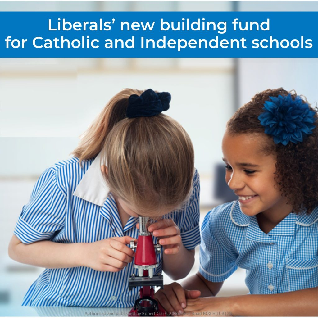 Liberals' new building fund for Catholic and independent schools
