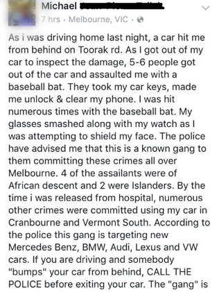 Michael car-jacked and robbed in Toorak Road