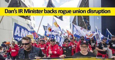 Dan's IR Minister backs rogue union disruption
